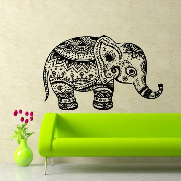 Elephant Pattern Vinyl Sticker Wall Art