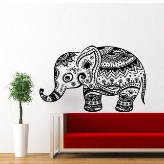Floral Elephant Pattern Vinyl Sticker Wall Art
