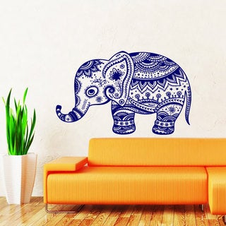 Elephant Floral Pattern Vinyl Sticker Wall Art