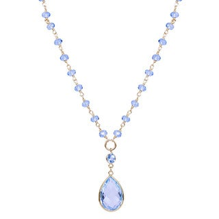 14KY Beaded swiss blue topaz pear drop bezel necklace