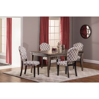 Hillsdale Furniture's Lorient Rectangle Washed Charcoal Grey Dining Set with Parsons Chairs