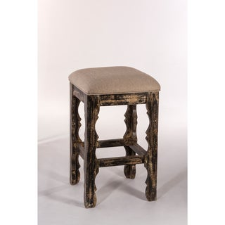 Ridged Leg Nailhead Trim Hand Rubbed Black Counter Stool