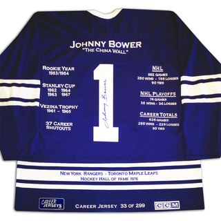 NHL Toronto Maple Leafs Johnny Bower Career Jersey