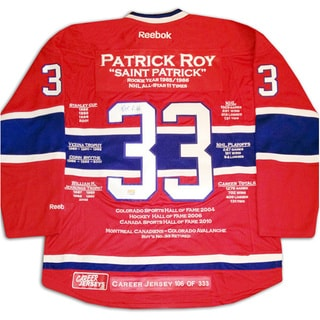 NHL Montreal Canadiens Patrick Roy Career Jersey