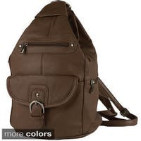 Convertible Leather Backpack Shoulder Bag - L