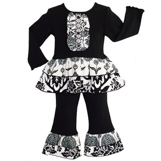 AnnLoren Boutique Girls' Winter Deer / Floral 2-piece Ruffle Outfit