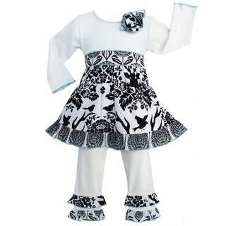 AnnLoren Boutique Girls' Winter Floral Deer Dress / Legging Outfit