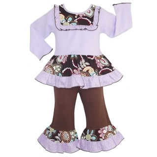 AnnLoren Girls' Boutique Lilac / Chocolate Floral Dots 2-piece Outfit