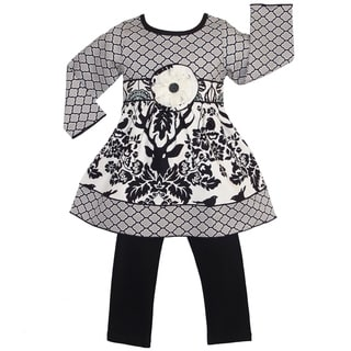 AnnLoren Girls' Black Birds/ Deer/ Lattice Print Dress Leggings Outfit