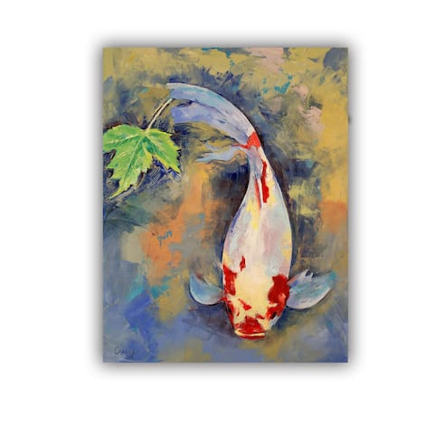 ArtWall Michael Creese ' Koi with Japanese Maple Leaf ' Art Appealz Removable Wall Art