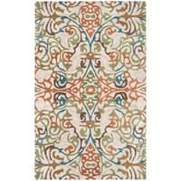 Rizzy Home Floral Ivory Bradberry Downs 100-percent Wool Hand-Tufted Accent rug (5' x 8') - 5' x 8'