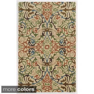 Rizzy Home Floral Ivory Bradberry Downs 100-percent Wool Hand-Tufted Accent rug (9' x 12')