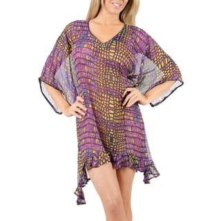 La Leela Purple Beach Mirror Art CHIFFON Swimwear Tunic Dress Bikini Cover up