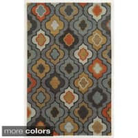 Rizzy Home Geometric Tan Bradberry Downs 100-percent Wool Hand-Tufted Accent rug (8' x 10')