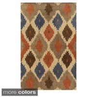 Rizzy Home Geometric Beige/ Blue Bradberry Downs Wool Hand-Tufted Accent Rug (8' x 10')