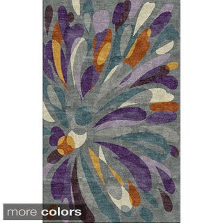 Rizzy Home Abstract Grey Bradberry Downs 100-percent Wool Hand-Tufted Accent rug (3' x 5')