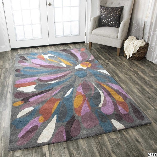 Rizzy Home Abstract Grey Bradberry Downs 100 Percent Wool