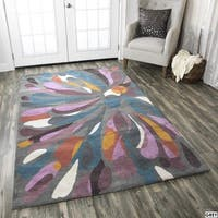 Rizzy Home Abstract Grey Bradberry Downs 100-percent Wool Hand-Tufted Accent rug - 9' x 12'