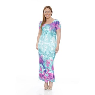 White Mark Women's Plus Size Floral Tie Dye Maxi Dress