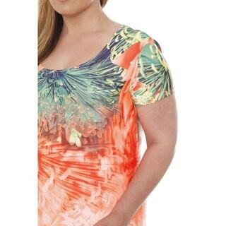 White Mark Women's Plus Size Floral Tie Dye Maxi Dress