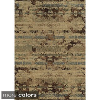 Rizzy Home Stripe Green Bennington Collection Beige Accent Rug (6' 7 x 9' 6)