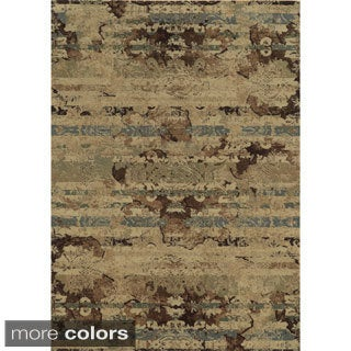 Rizzy Home Stripe Green Bennington Collection Beige Accent Rug (9' 10 x 12' 6)