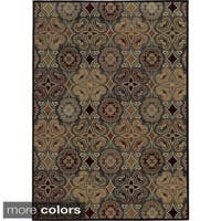 Rizzy Home Geometric Blue Bennington Collection Beige Accent Rug (5'3 x 7'7) - 5'3 x 7'7