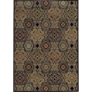 Rizzy Home Geometric Blue Bennington Collection Beige Accent Rug (6' 7 x 9' 6)