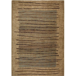 Rizzy Home Stripe Beige Bellevue Collection Accent Rug (5'3 x 7'7)