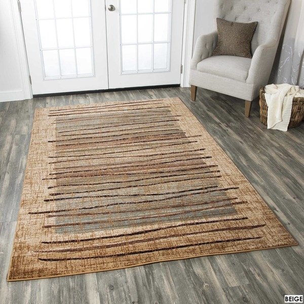 shop rizzy home stripe beige bellevue collection accent rug 3 39 3 x 5 39 3 on sale free. Black Bedroom Furniture Sets. Home Design Ideas