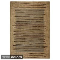 Rizzy Home Stripe Beige Bellevue Collection Accent Rug - 6'7 x 9'6