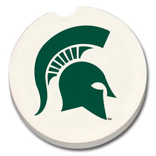 Michigan State Spartans Absorbent Stone Car Coaster (Set of 2)