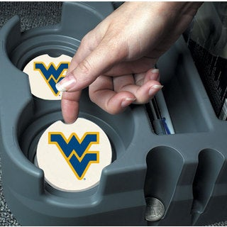 West Virginia Mountaineers Absorbent Stone Car Coaster (Set of 2)