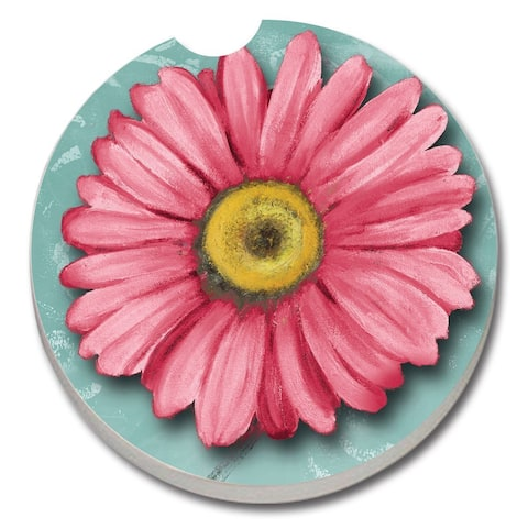 Counterart Absorbent Stone Car Coaster Blooming Daisy (Set of 2)