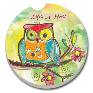 Counterart Absorbent Stone Car Coaster Owl Life's a Hoot (Set of 2)