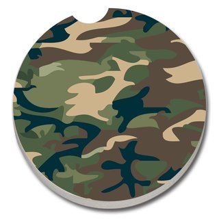 Counterart Absorbent Stone Car Coaster Camouflage (Set of 2)