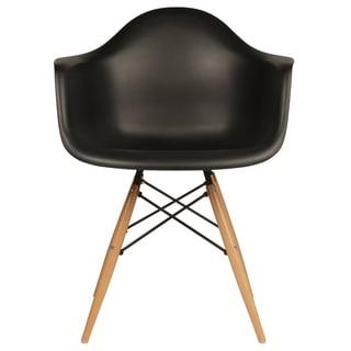 Retro Molded Plastic Black Armchair Set of 2