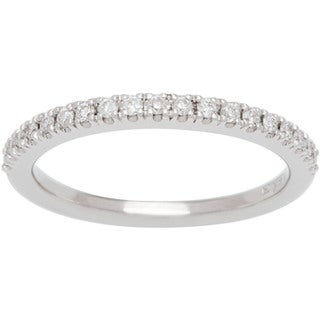 Boston Bay Diamonds 14k White Gold 1/5ct TDW Diamond Halo Wedding Band (H-I, SI1-SI2)