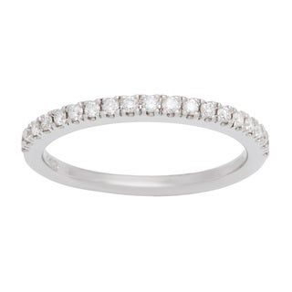 Boston Bay Diamonds 14k White Gold 1/5ct TDW Diamond Oval Halo Wedding Band (H-I, SI1-SI2)