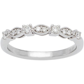 Boston Bay Diamonds 14k White Gold 1/5ct TDW Infinity Milgrain Diamond Wedding Band (G-H, SI1-SI2)