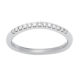 Boston Bay Diamonds 14k White Gold 1/6ct TDW Diamond Square Halo Wedding Band (H-I, SI1-SI2)