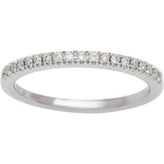 Boston Bay Diamonds 14k White Gold 1/8ct TDW Oval Halo Diamond Wedding Band (H-I, SI2-I1)