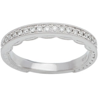 Boston Bay Diamonds 14k White Gold 1/6ct TDW Round Diamond Milgrain Wedding Band (H-I, SI2-I1)