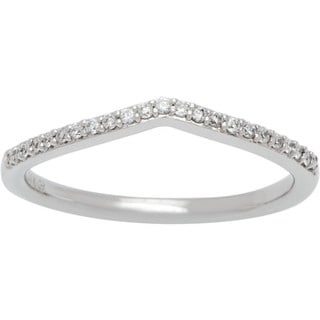 Boston Bay Diamonds 14k White Gold 1/10ct TDW Diamond Crossover Wedding Band (H-I, SI2-I1)