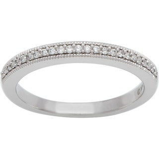 Boston Bay Diamonds 14k White Gold 1/10ct TDW Diamond Filigree Milgrain Wedding Band (H-I, SI2-I1)