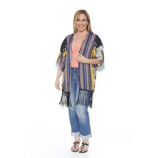 White Mark Women's Plus Size Black/ Yellow Fringe Kimono