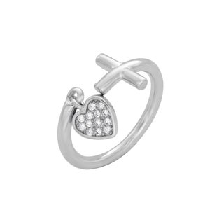 Rhodium Plated Bronze Side Cross with Dangling Cubic Zirconia Heart Ring