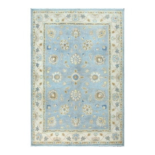 Herat Oriental Afghan Hand-knotted Vegetable Dye Oushak Light Blue/ Ivory Wool Rug (4'11 x 7'2)