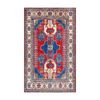 Herat Oriental Afghan Hand-knotted Kazak Red/ Ivory Wool Rug (5'1 x 8'2)