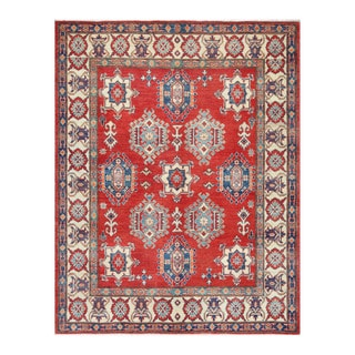 Herat Oriental Afghan Hand-knotted Kazak Red/ Ivory Wool Rug (5'9 x 7'4)